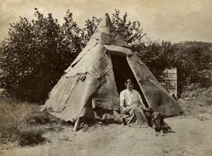 Penobscot woman with a traditional birch bark shelter in Maine - circa 1910